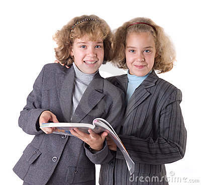 Two twins with textbook
