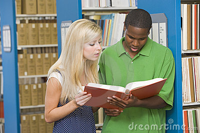 Two university students working in library