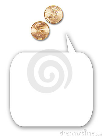 Free Two US Pennies With Cartoon Thought Balloon Stock Photography - 5455242