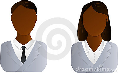 Two users icon - african man and woman