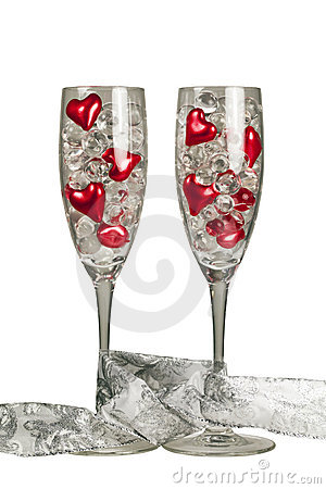 Free Two Valentine Champagne Glasses Stock Photography - 23147832