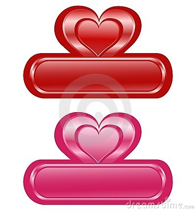 Two Valentine glossy banners with Heart.