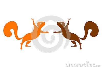 Two vector colorful squirrels isolated on white background. Vector Illustration