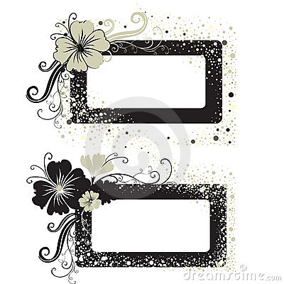 Free Two Vector Floral Vintage Frame Royalty Free Stock Photography - 10652257