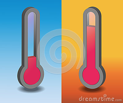 Two vector hot and cold thermometer