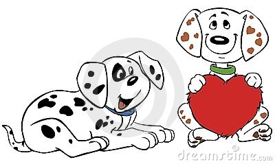 Two vector puppies dalmatian whith heart