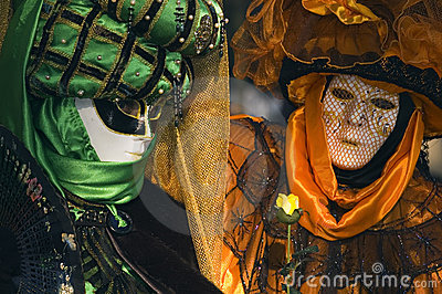 Two venetian mask at Annecy s carnival. Editorial Photo