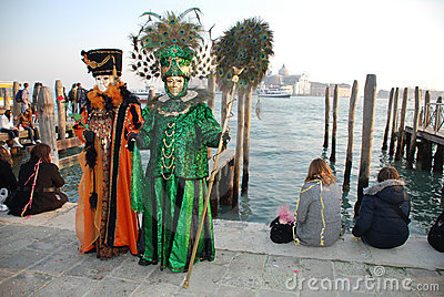 Two Venice Carnival Goers, Italy Editorial Stock Photo
