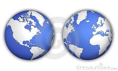 Two views of world globe