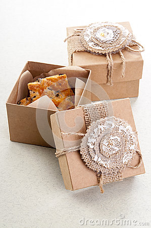 Two vintage decorative boxes with cookies Stock Photo