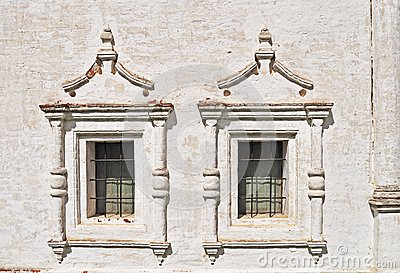 Two vintage windows in ancient monastery