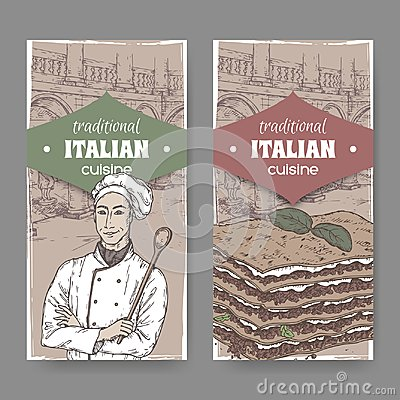 Free Two Vintahe Labels With Cook, Ilalian Patio And Lasagna. Royalty Free Stock Photo - 107073505