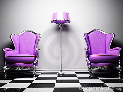 Two violet classic elegant armchairs and a