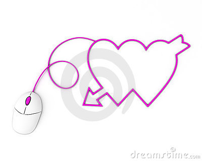 Two violet hearts depicted by computer mouse