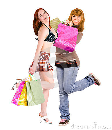Two voluptuous shopping ladies dancing