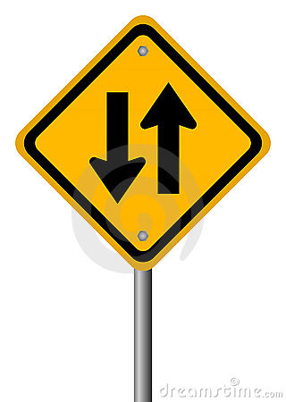 Free Two Way Traffic Sign Stock Image - 23106411