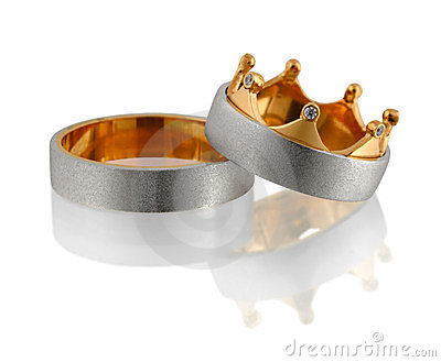 Two wedding rings with diamond on white