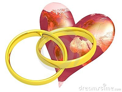 Two Wedding Rings with Earth