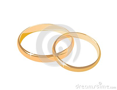 Two wedding rings isolated
