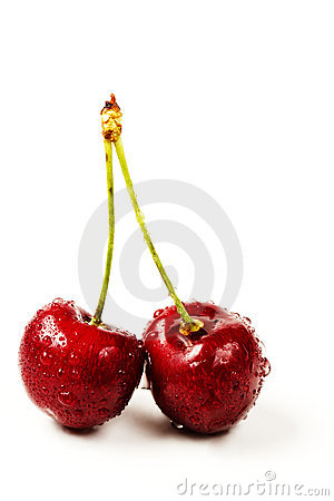 Two wet cherries