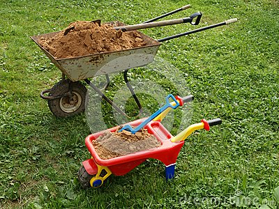Two wheelbarrows