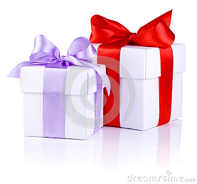 Two White boxs with a Red and Purple ribbon bow