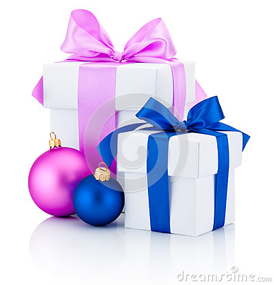Free Two White Boxs Tied Red And Pink Ribbon Bow And Christmas Balls Isolated On White Royalty Free Stock Photos - 47889698