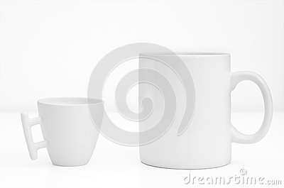 Two white cup or mug isolated on white background