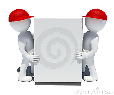 Two white 3d man holding a big box