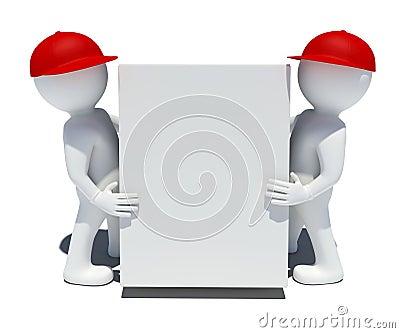 Two white 3d man holding a big box