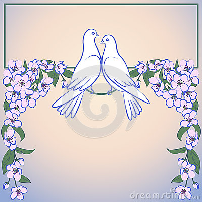 Free Two White Doves And Decor Of Blossoming Apple Tree Royalty Free Stock Photography - 51452937