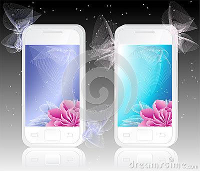 Two white mobile phones with  flowers   Background