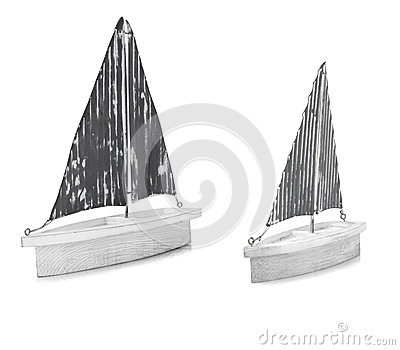 Two White Ornamental Model Boats