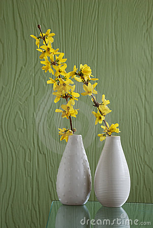 Two white vases over green background