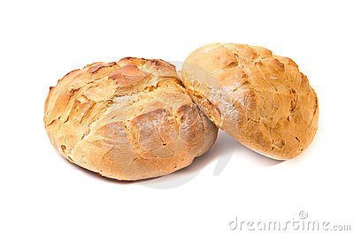 Two white wheat round bread loafs