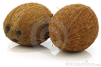 Two whole coconuts