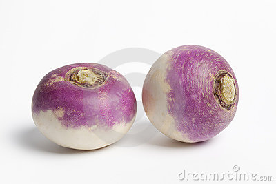 Two whole purple headed turnips