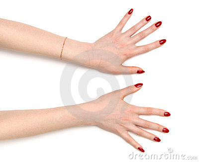 Two wide open woman hands