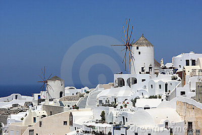 Two windmills in oia
