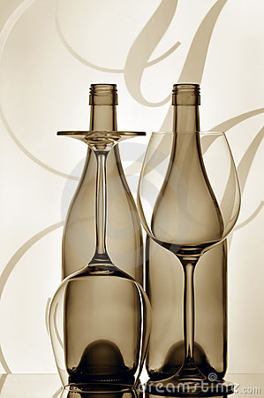 Two wine bottles and glasses