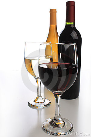 Free Two Wine Bottles With Glasses Stock Photography - 5908482