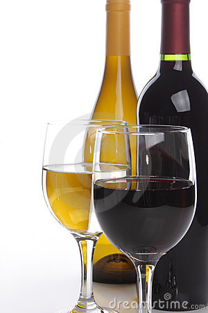 Free Two Wine Bottles With Glasses Royalty Free Stock Images - 5908579
