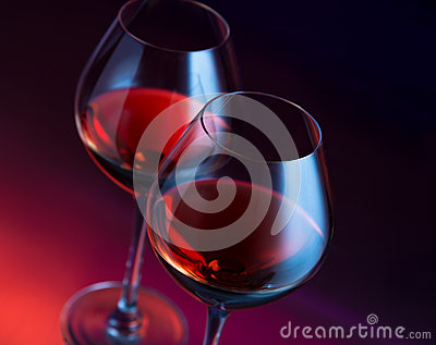 Two wineglasses angled