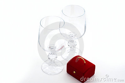 Two wineglasses and surprise