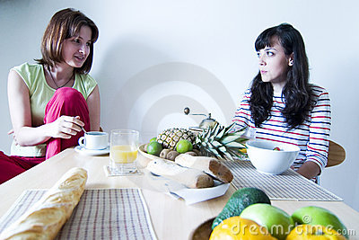 Two Woman at Breakfast