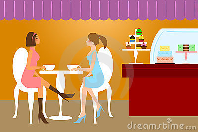 Two Woman Friends Having Coffee