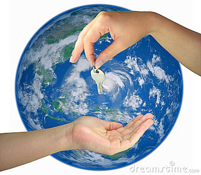 Two woman hands giving key from the earth isolated