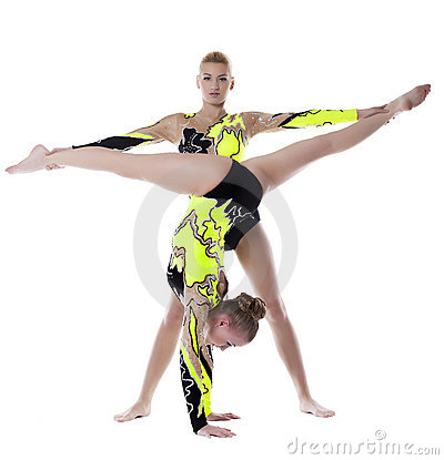 Two woman high skill gymnast exercise isolated