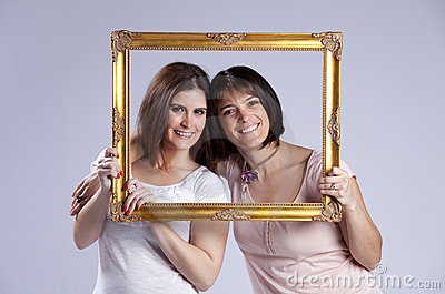 Two woman inside a picture frame