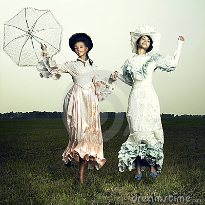 Two woman in vintage dress